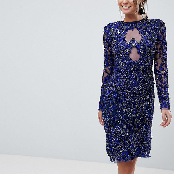 A Star Is Born Pencil Dress In All Over Embellishment - French navy