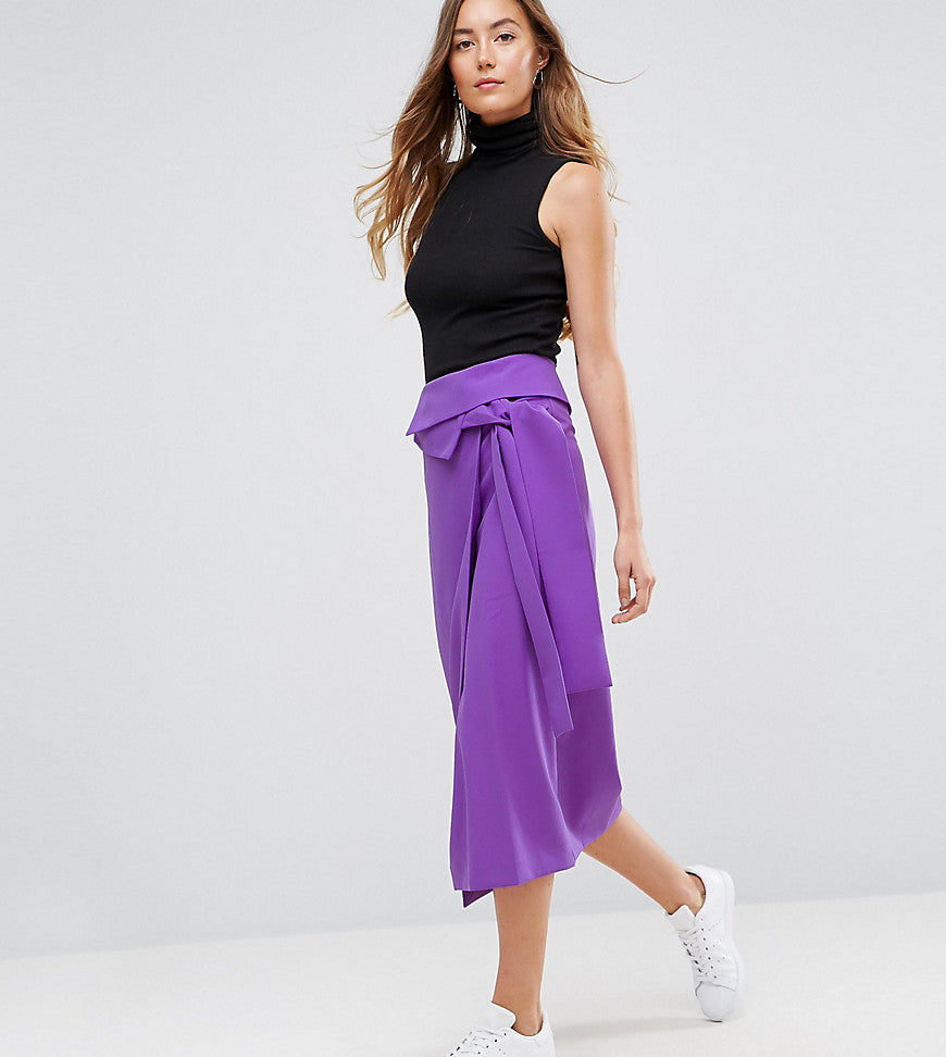 ASOS TALL Tailored Origami Fold Wrap Pencil Skirt - Lilac