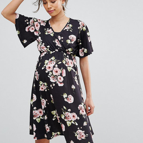 Bluebelle Nursing Wrap Front Flared Sleeve Swing Dress - Multi print