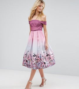 ASOS TALL SALON Floral Ombre Midi Prom Dress - Pink