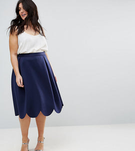 ASOS CURVE Prom Skirt with Scallop Hem - Navy