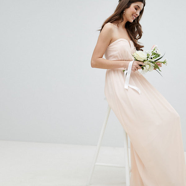 TFNC Bandeau Maxi Bridesmaid Dress - Nude