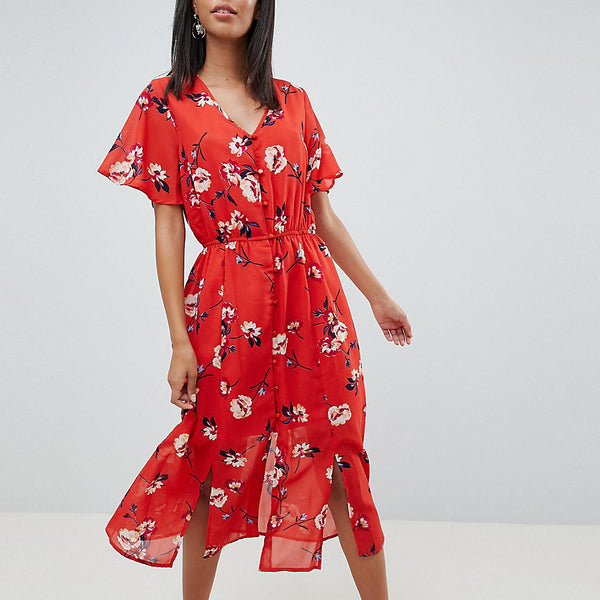 Missguided Tall Floral Button Front Midi Dress - Red