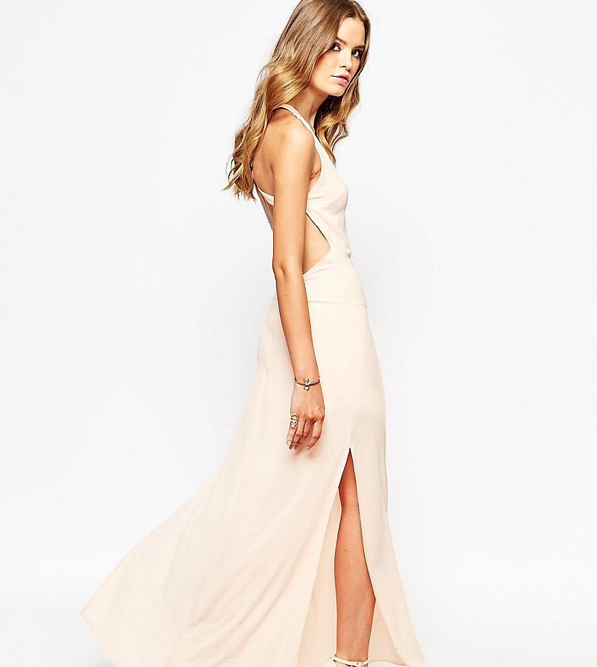 Goldie Maxi Dress With Open Back - Nude