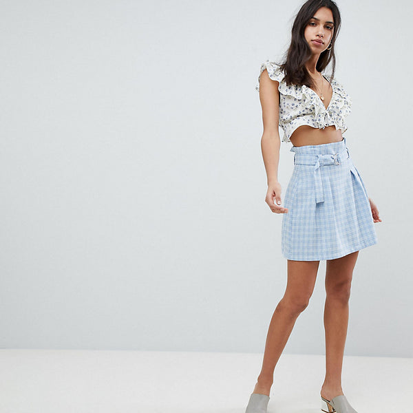 Reclaimed Vintage Inspired Check Paper Bag Waist Mini Skirt - Blue