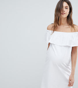 Mamalicious Bardot Jersey Dress - White