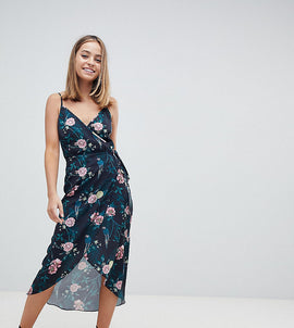 Fashion Union Petite Wrap Cami Midi Dress In Romantic Floral - Parrot