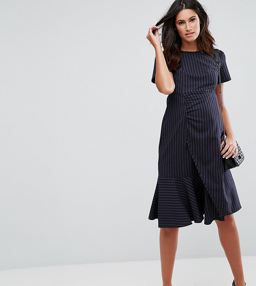 ASOS Maternity Pinstripe Dress with Ruffle Detail - Navy