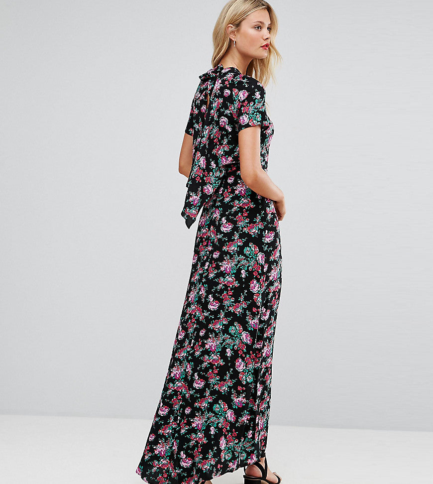 ASOS TALL Maxi Dress with Deconstructed Back in Floral Print - Black
