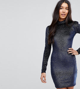 Glamorous Tall High Neck Bodycon Dress In Glitter Velvet - Navy