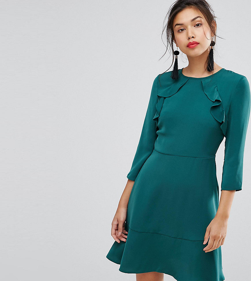 Warehouse Ruffle Front Skater Dress - Emerald