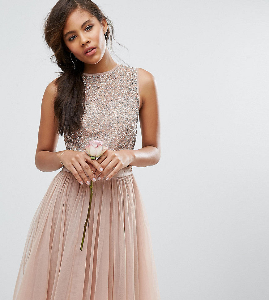 Maya Tall Sleeveless Sequin Top Midi Dress With Tulle Skirt And Bow Back Detail - Mink