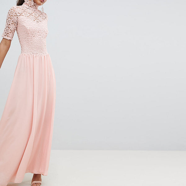 John Zack Tall High Neck Cutwork Lace Top Maxi Dress - Nude