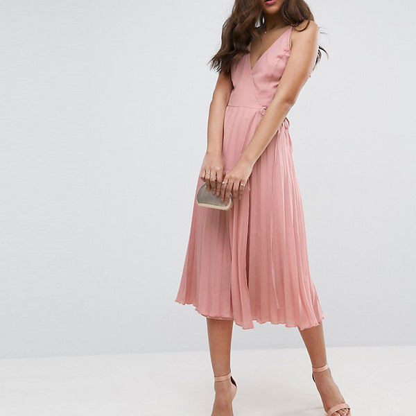 ASOS TALL Wrap Front Pleated Midi Dress - Nude