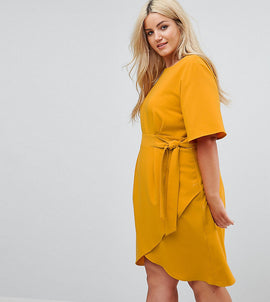 Closet London Plus Tie Front Dress With Kimono Sleeve - Mustard