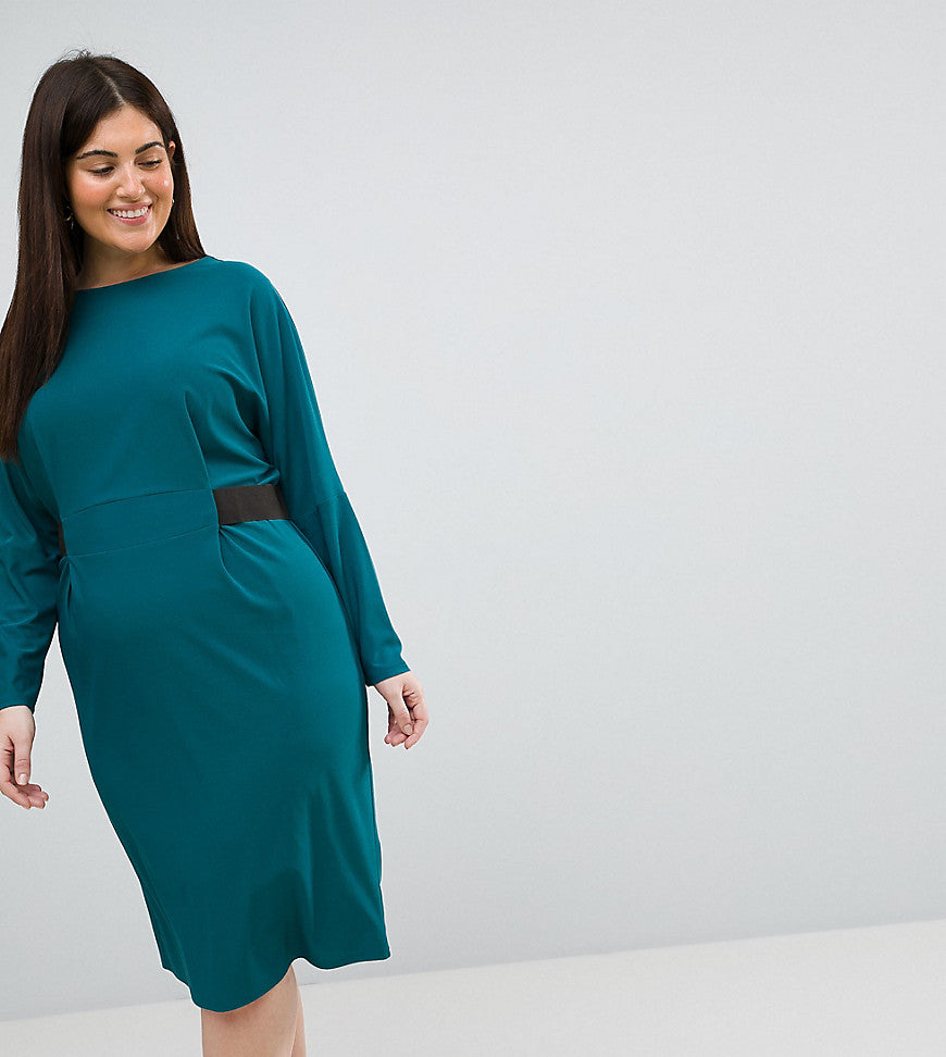 ASOS CURVE Midi Dress with Elastic Waist Detail - Teal
