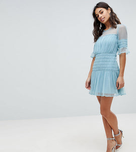 ASOS PETITE Mesh Dobby Skater Dress - Blue