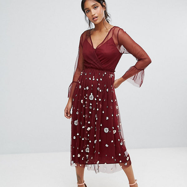 Lace & Beads Embellished Tulle Dress With Frill Sleeve - Cherry wine
