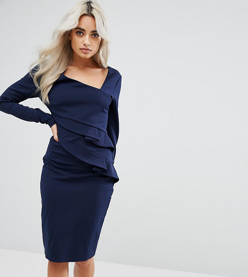 City Goddess Petite Long Sleeve Pencil Dress With Ruched Detail - Navy