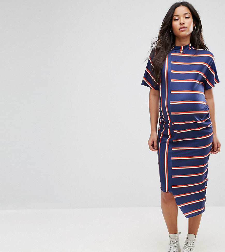 ASOS Maternity Asymmetric Stripe Midi Bodycon Dress - Multi