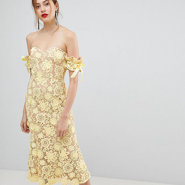 Jarlo Tall All Over Cutwork Lace Bardot Midi Dress With Tie Sleeve Detail - Lemon