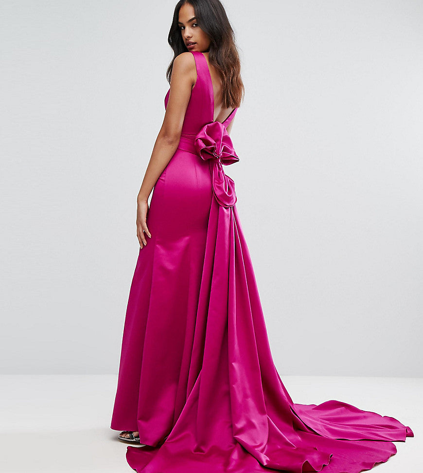 Bariano Fishtail Satin Maxi Dress With Structured Bow Back - Fuschia
