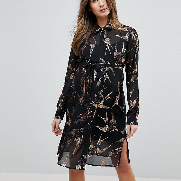Mamalicious Bird Print Woven Shirt Dress - Multi