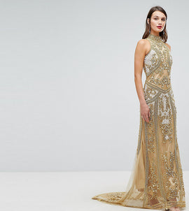 A Star Is Born High Neck Maxi Dress With Allover Embellishment In Pattern - Gold