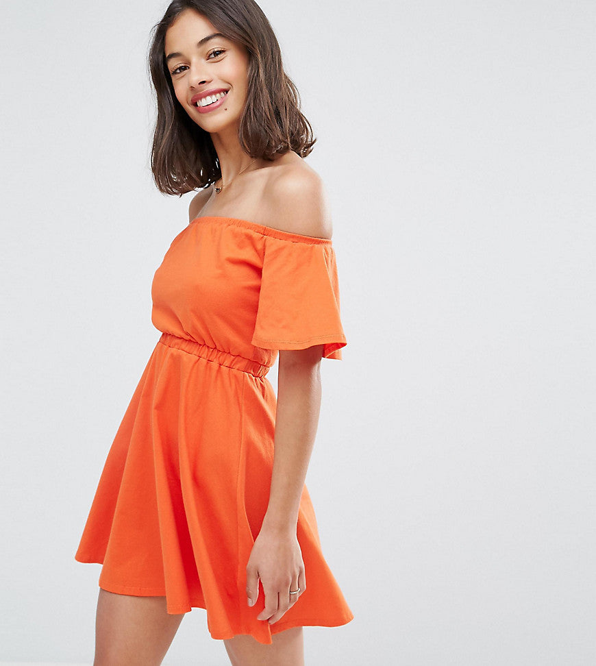 ASOS PETITE Off Shoulder Skater Dress - Coral