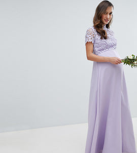Chi Chi London Maternity 2 in 1 High Neck Maxi Dress with Crochet Lace - Lavender grey