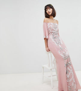 Maya All Over Embellished Bardot Maxi Bridesmaid Dress With Fluted Sleeves - Vintage rose