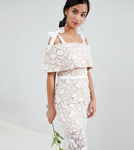 Jarlo Petite All Over Embroidered Lace Maxi Dress With Tie Shoulder Detail - White