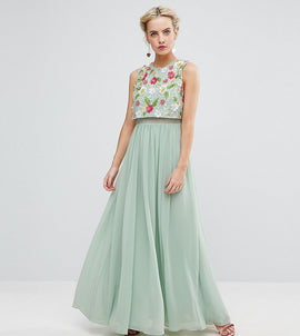 ASOS PETITE 3D Floral Embellished Crop Top Maxi Dress - Mint