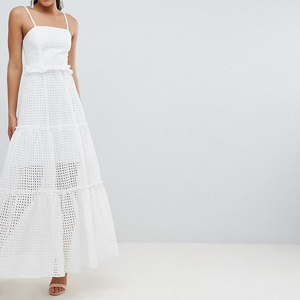 John Zack Tall High Cutwork Lace Layered Maxi Dress - White