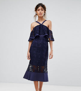 Jarlo Frill Layer Cold Shoulder Lace Midi Dress - Navy