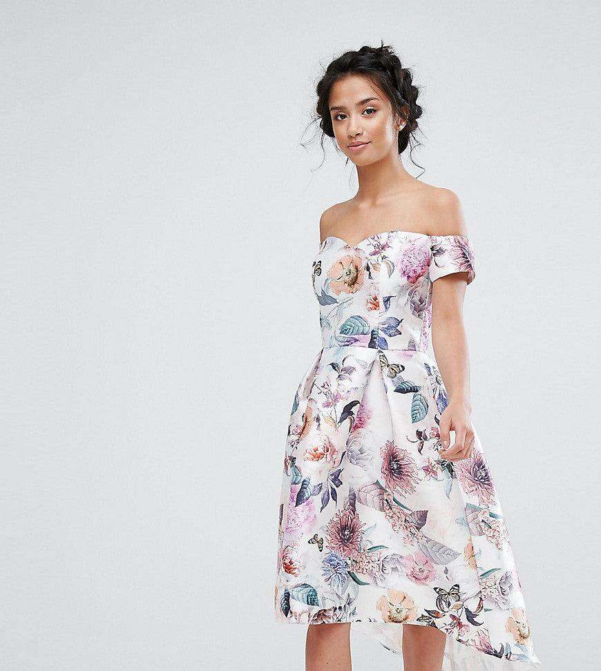 Chi Chi Petite All Over Printed Off Shoulder Midi Dress - Nude rose