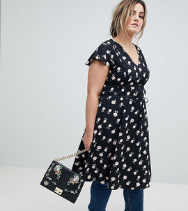 Lovedrobe Tie Waist Midi Tea Dress In Floral Rose Print - Black multi