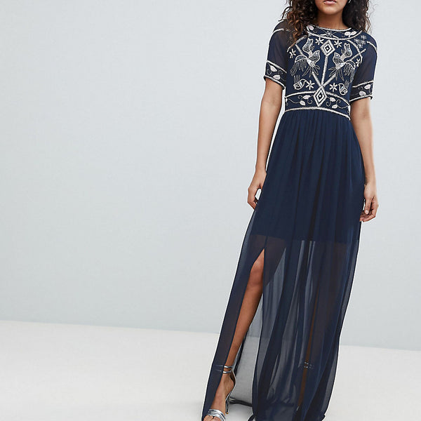 Frock And Frill Tall Embellished Top Maxi Dress - Navy