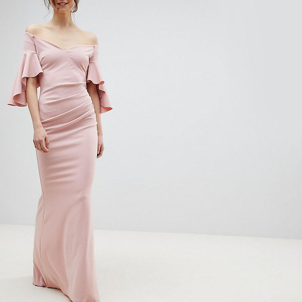 City Goddess Tall Long Sleeve Bardot Maxi Dress - Blush pink