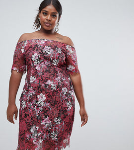 Paper Dolls Plus Bardot Floral Midi Lace Dress - Multi