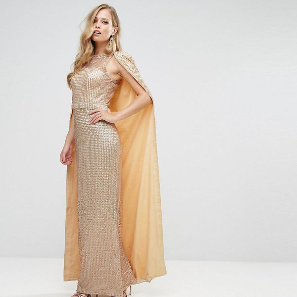Bariano Sequin Maxi Dress With Cape - Champagne