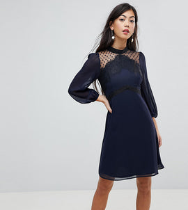 Elise Ryan Petite High Neck Skater Dress With Lace Detail - Navy