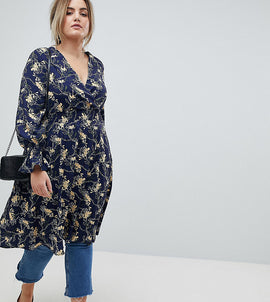 Lovedrobe Wrap Front Midaxi Tea Dress in Dark Floral Print - Navy multi