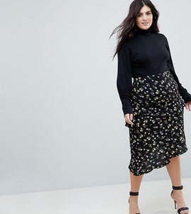 Fashion Union Plus Midi Skirt With An Asymmetric Tiered Ruffles In Daisy Floral - Daisy floral