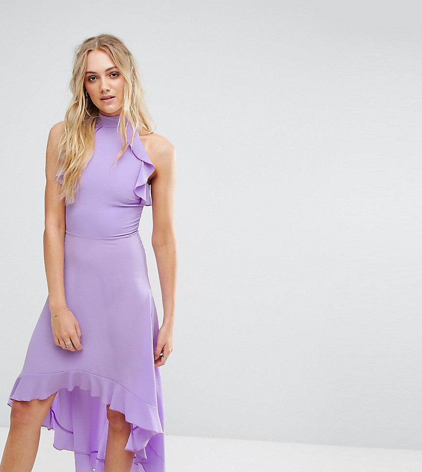 John Zack Tall Wrap Ruffle Detail High Neck Midi Dress - Lavender