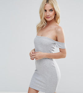 ASOS PETITE Bardot Bodycon Mini Dress - Grey marl