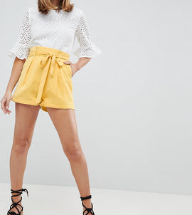 Fashion Union Petite High Waist Shorts - Yellow