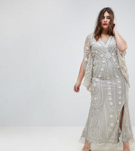 A Star Is Born Plus Embellished Maxi Dress With Cape Sleeves - Silver