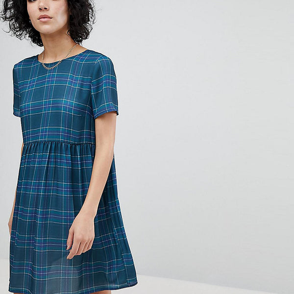Reclaimed Vintage Inspired Checked Smock Dress - Blue