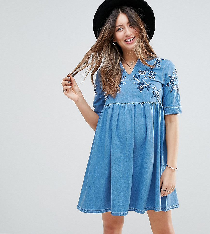 ASOS MATERNITY Denim Smock Dress in Midwash Blue With Embroidery - Blue